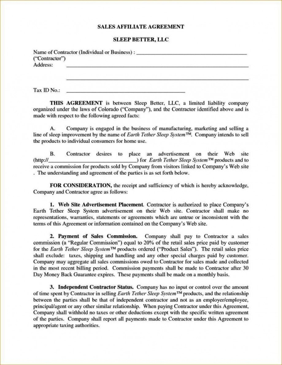 Sales Commission Contract Template Pdf Example