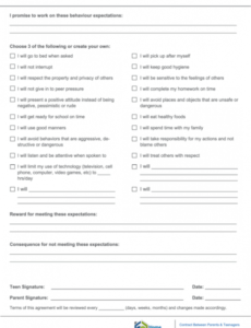 Teenager Contract With Parents Template Pdf Sample