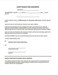 Video Production Agreement Contract Template  Example