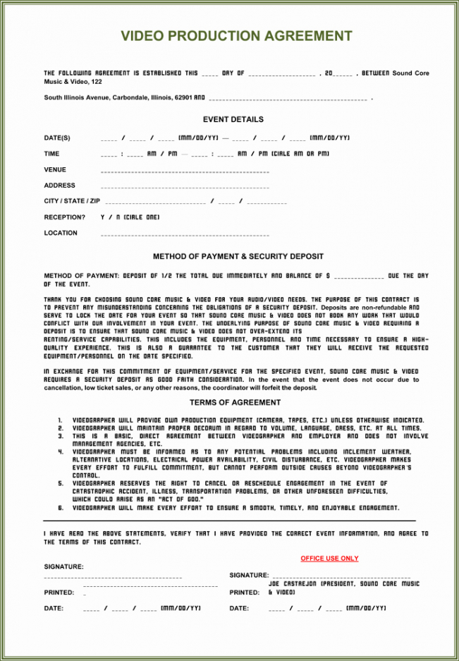 Video Production Agreement Contract Template Excel