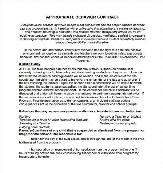 Costum Patient Behavior Contract Template  Sample