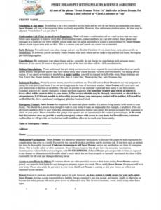 Editable Dog Boarding Contract Template  Sample
