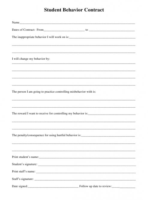 Editable Patient Behavior Contract Template Doc Sample