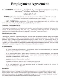 Editable Project-Based Employment Contract Template Word Example