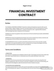 Free Guaranteed Investment Contract Template  Example