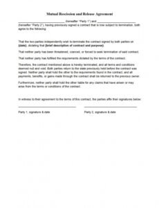 Free Mutual Termination Of Contract Template Pdf