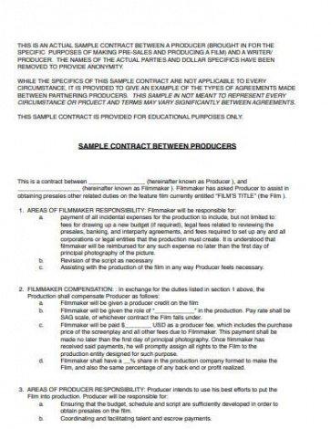 Printable Film Crew Contract Template Doc Example