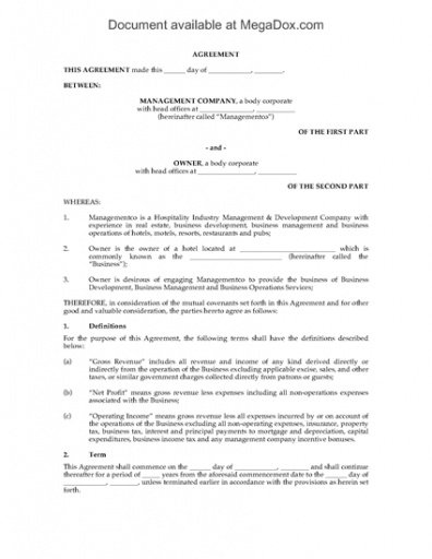 Printable Hotel Accommodation Contract Template Word