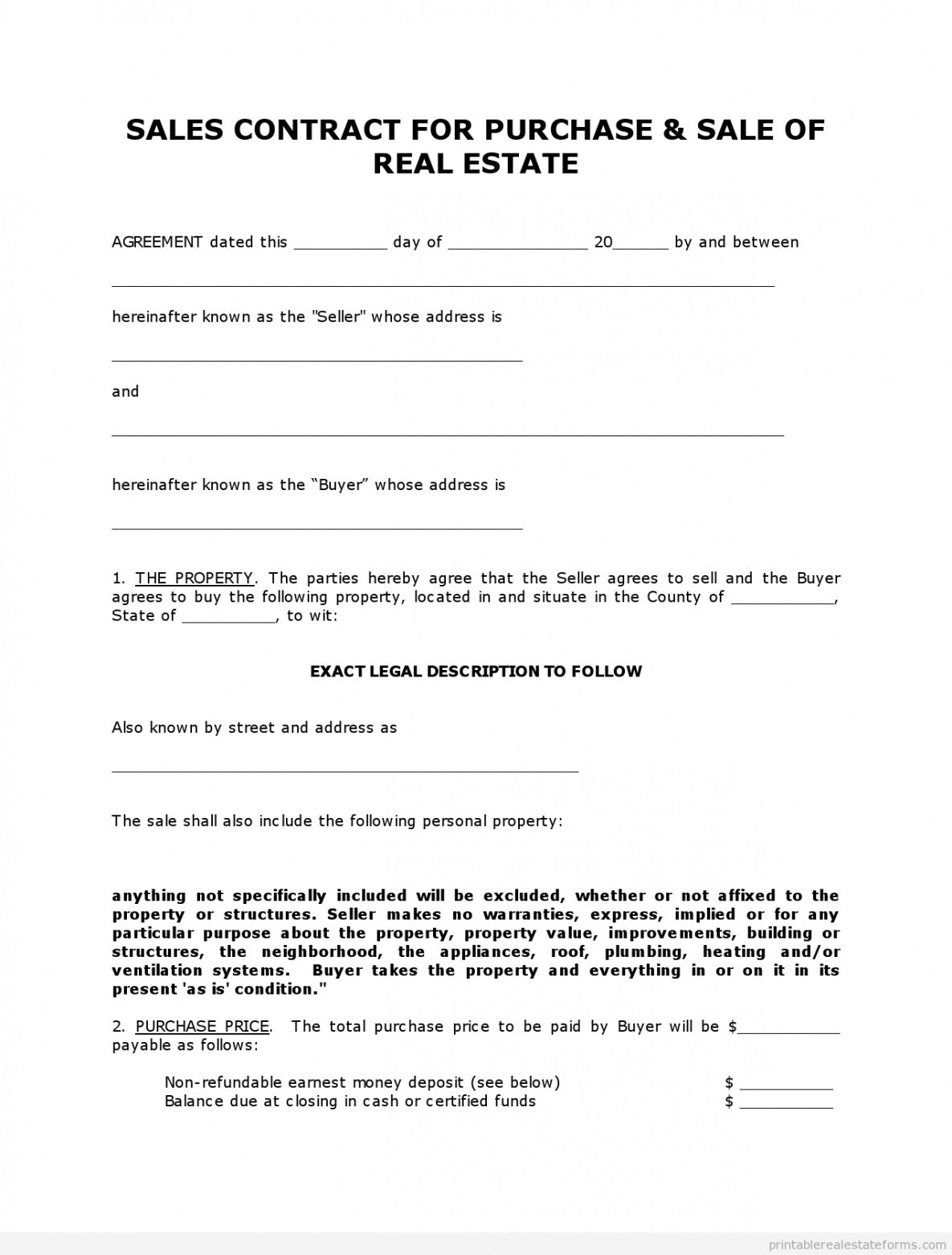 Printable House Purchase Contract Template Pdf Example