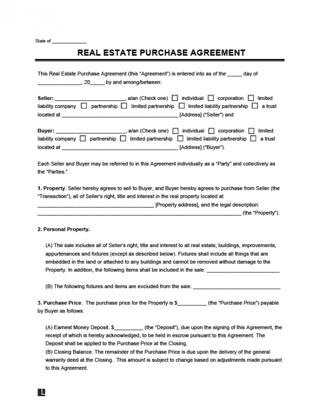 Professional House Purchase Contract Template  Sample