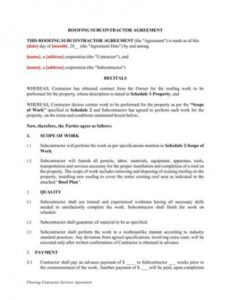 Costum Commercial Roofing Contract Template