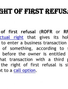 Editable First Right Of Refusal Contract Template  Sample