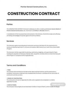 Best Framing Contract Template Excel Sample
