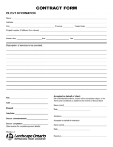 Best Tree Service Contract Template Doc Sample