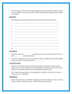 Costum Personal Training Contract Agreement Template Pdf