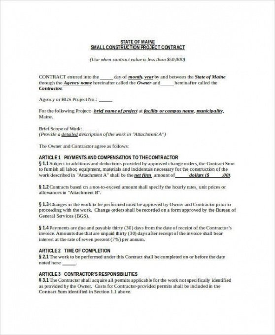 Editable Framing Contract Template Doc