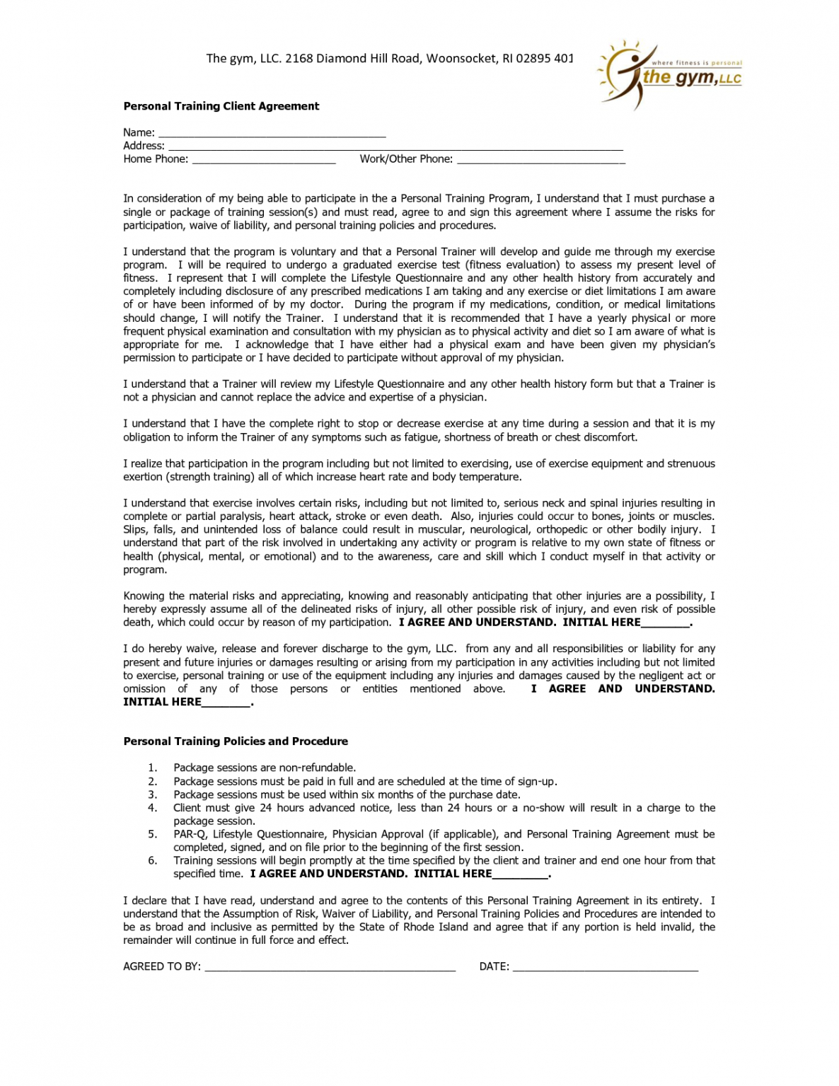 Editable Personal Training Contract Agreement Template Pdf Example