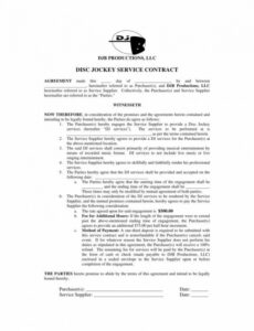 Free Contract For Dj Services Template Doc Sample