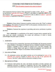 Free Framing Contract Template Doc Sample