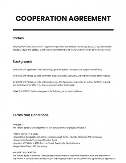 Free Group Project Contract Template Excel Sample