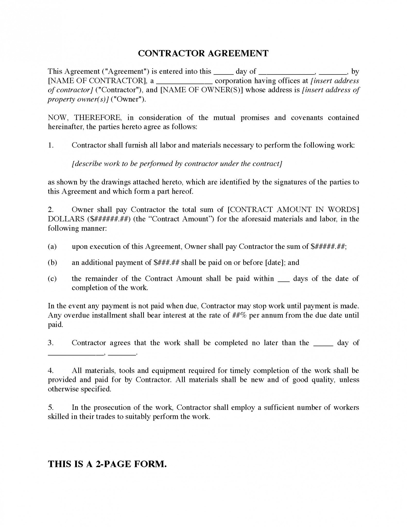 Free Oregon Construction Contract Template Doc