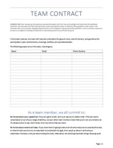 Group Project Contract Template Doc Sample