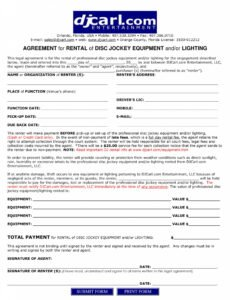 Printable Contract For Dj Services Template Excel Sample