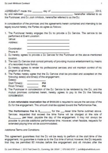 Printable Contract For Dj Services Template Pdf