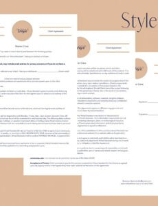 Professional Assistant Contract Template Word Example