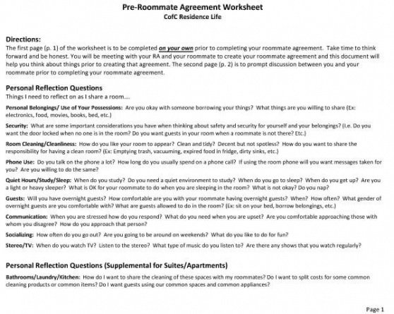 Professional College Roommate Contract Template  Example