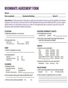 Professional College Roommate Contract Template Word Sample