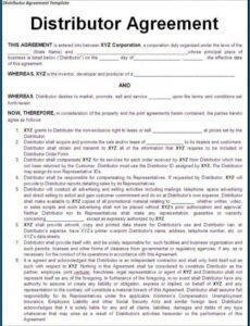 Best Distribution Contract Template Pdf Sample