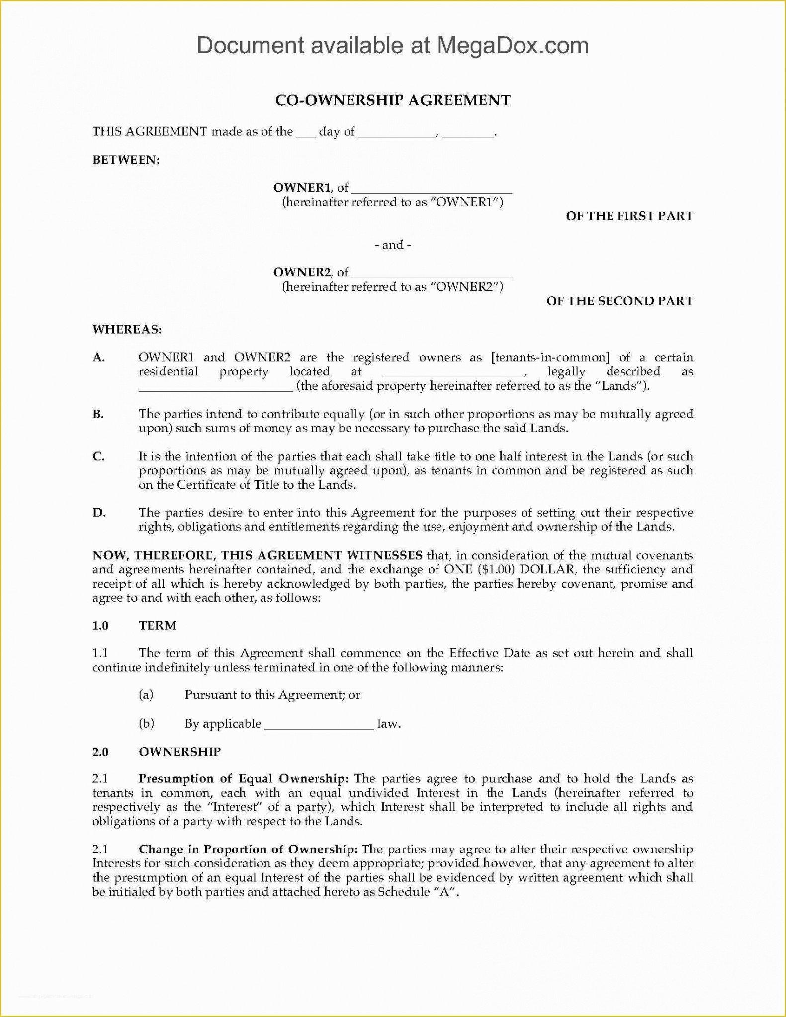 Costum Co-Ownership Contract Template Excel Sample