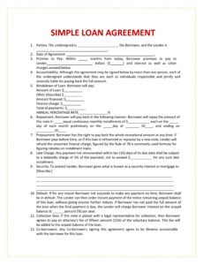 Costum Loan Agreement Contract Template Pdf Sample