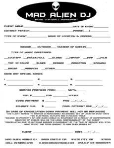 Costum Wedding Dj Contract Template Excel Example