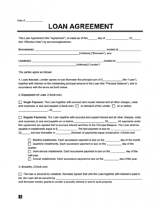 Editable Loan Agreement Contract Template