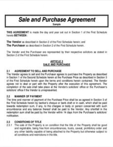 Free Wholesale Purchase Agreement Contract Template Excel