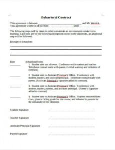 Printable Behavior Contract Template Mental Health Excel
