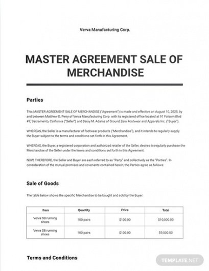 Printable Wholesale Purchase Agreement Contract Template Doc Example