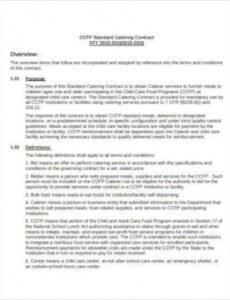 Professional Banquet Contract Template Word Sample