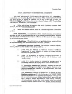 Professional Distribution Contract Template Pdf Sample