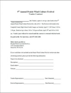 Professional Vendor Contract Template For An Event Excel Example